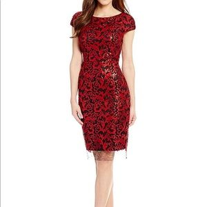 b13624f6ce0 ANTONIO MELANI Dresses - Milo Cap Sleeve Sequin Mesh Sheath Dress Red